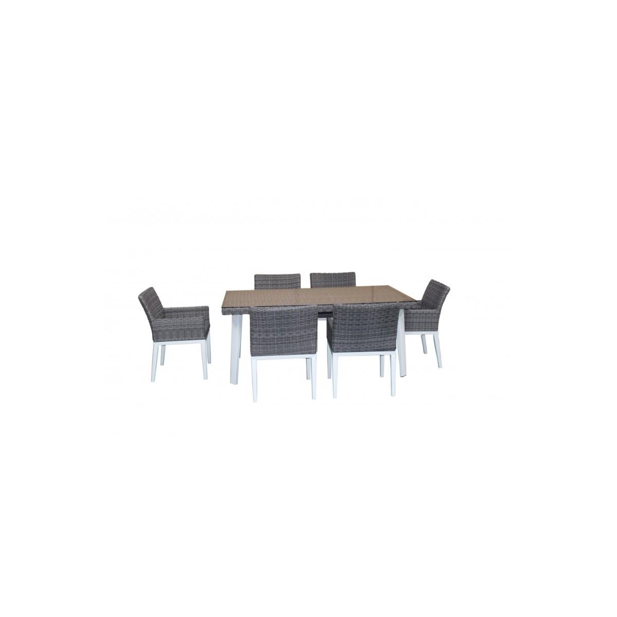 esstisch und 6 stuhle garten integrierten luka geflochten harz und aluminium weiss grau amp story 5476