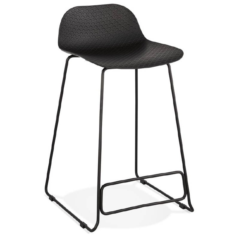 tabouret de bar chaise de bar mi hauteur design ulysse mini pieds metal noir noir tabourets de bar design