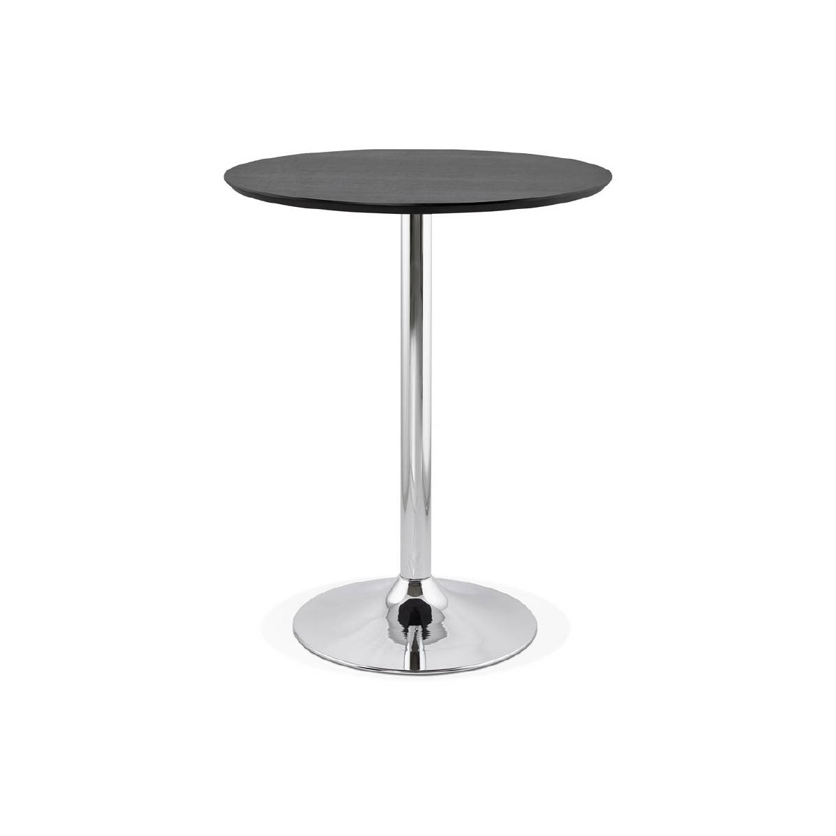 table haute mange debout design laura en bois pieds metal chrome o 90 cm noir amp story 5652