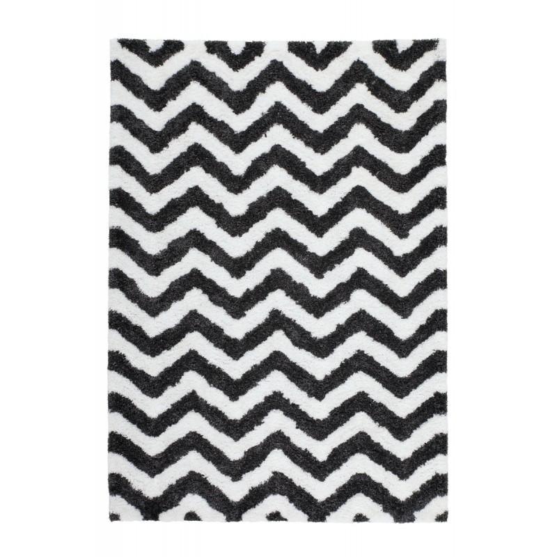 tapis graphique budapest rectangulaire fait main ivoire gris noir tapis graphique