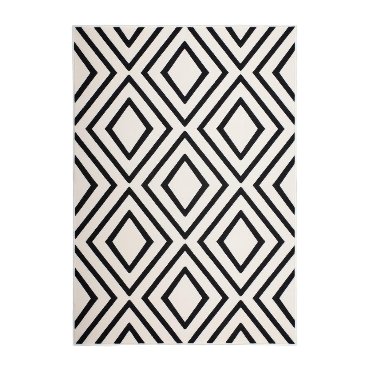 tapis graphique augusta rectangulaire tisse a la machine ivoire noir amp story 6038