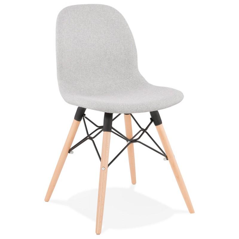 chaise design et scandinave en tissu pieds bois finition naturelle et noir masha gris clair chaises