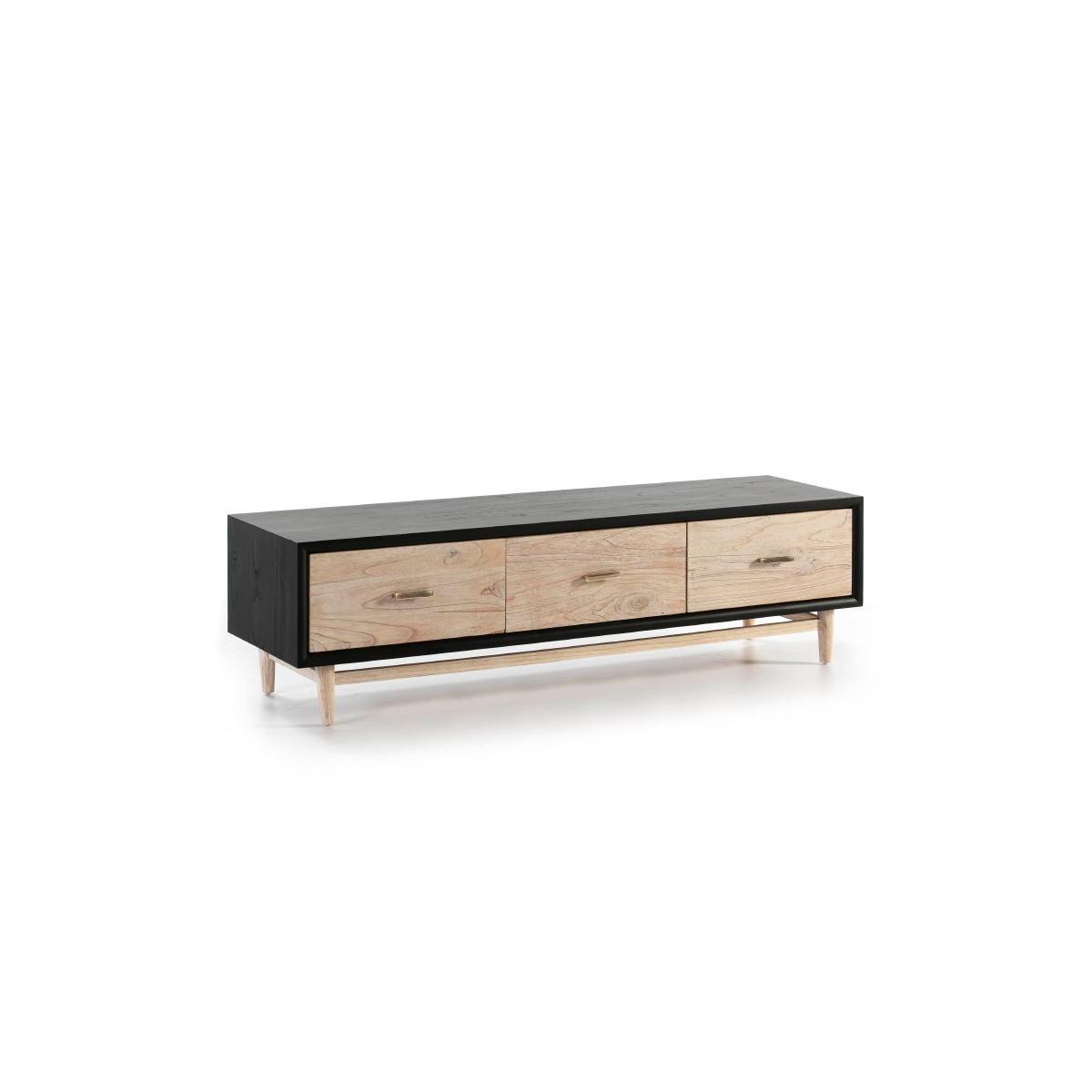 meuble tv 3 tiroirs 160x45x45 bois noir beige rustique amp story 7327