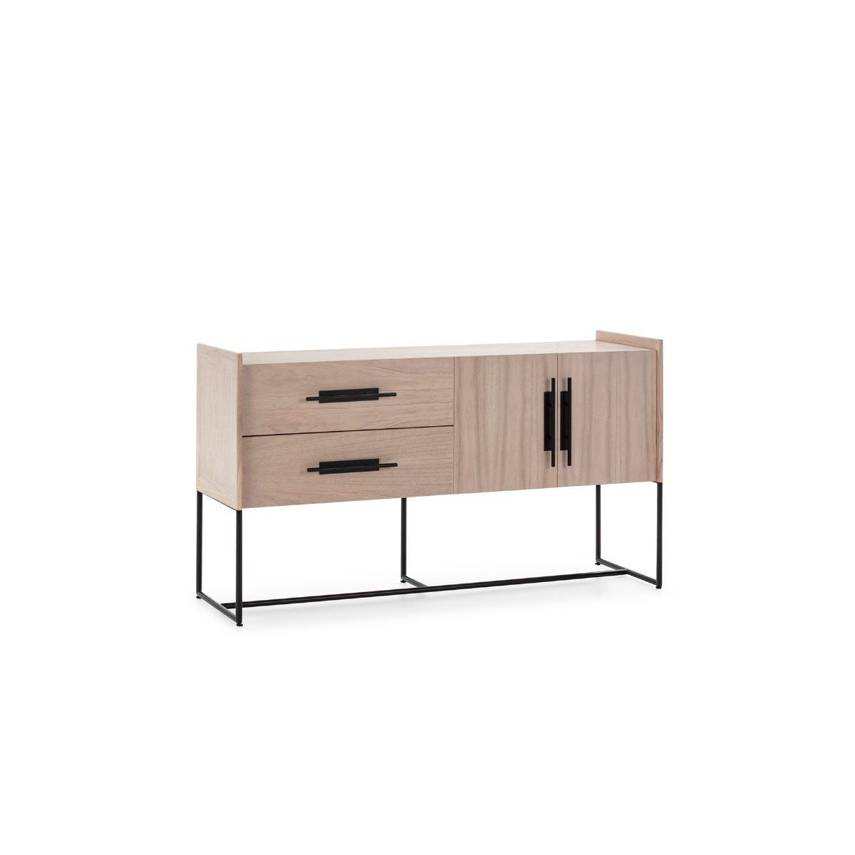 buffet 2 portes 2 tiroirs 150x46x86 bois naturel metal noir amp story 7950