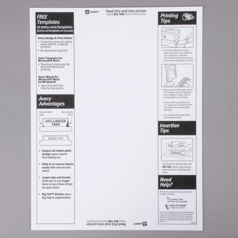 Tab Avery 5 Template Divider