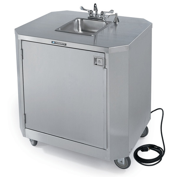 lakeside 9610 portable self contained stainless steel hand sink cart with hot cold water faucet and soap dispenser 120v