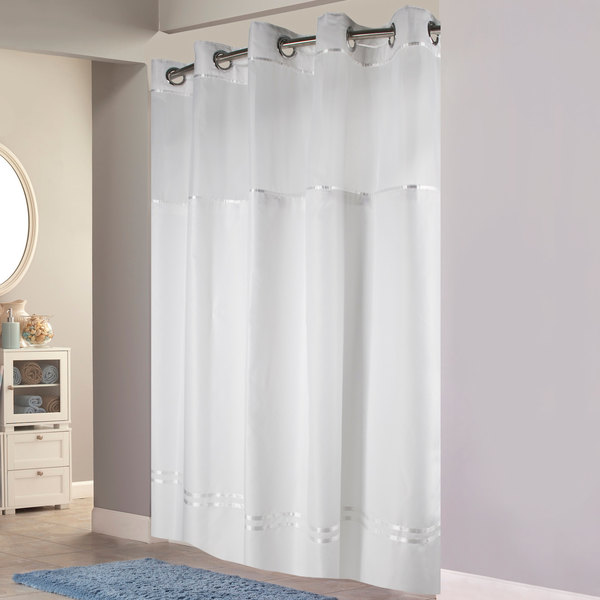 hookless hbh40mys0101sl77 white with white stripe escape shower curtain with chrome raised flex on rings it s a snap polyester liner with magnets