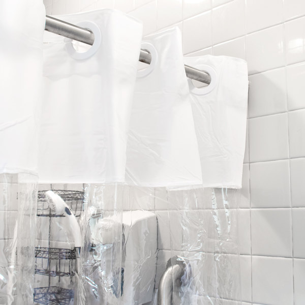 hookless hbh08vis01 white 8 gauge vision shower curtain with vinyl window and weighted corner magnets 71 x 74