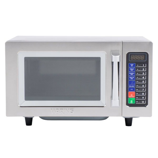 waring wmo90 stainless steel commercial microwave with push button controls 120v 1000w