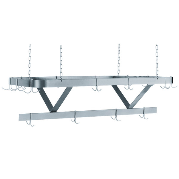 advance tabco sc 96 stainless steel ceiling mounted pot rack 96