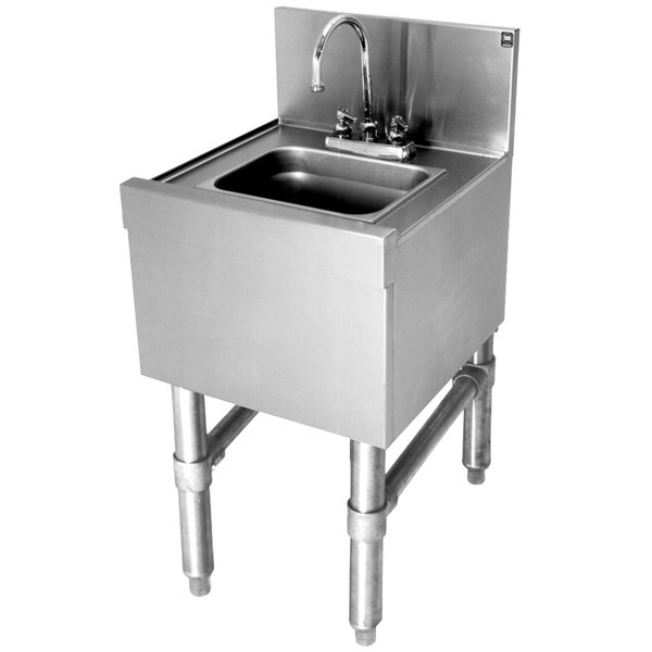 eagle group hs18 24 spec bar 20 gauge stainless steel hand sink with deck mount faucet 18 x 24
