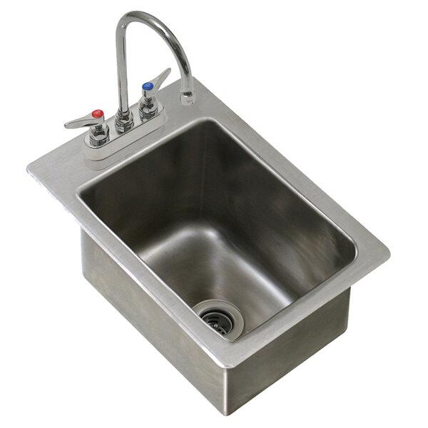 eagle group wssdi12 15 spec bar 1 bowl drop in underbar hand sink with deck mount gooseneck faucet