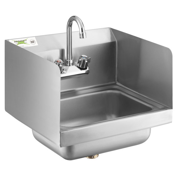 regency 17 x 15 wall mounted hand sink with gooseneck faucet and side splash