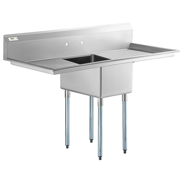 regency 65 16 gauge stainless steel one compartment commercial sink with 2 drainboards 17 x 23 x 12 bowl