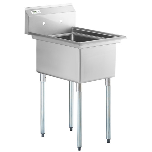 regency 22 16 gauge stainless steel one compartment commercial sink with galvanized steel legs and without drainboard 17 x 23 x 12 bowl