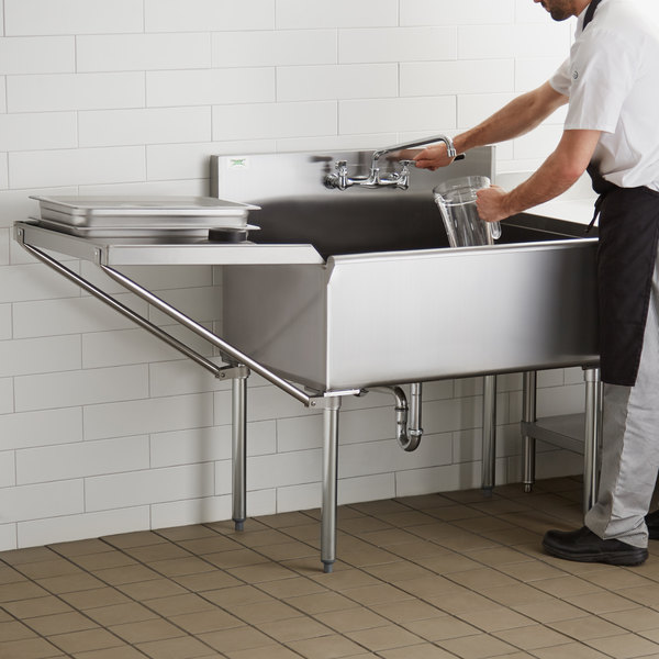 regency 36 16 gauge stainless steel one compartment commercial utility sink with faucet and 24 drainboard 36 x 24 x 14 bowl