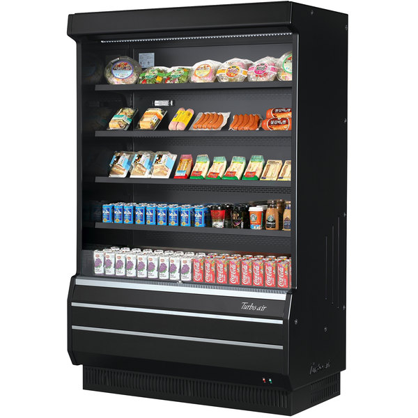 turbo air tom 50b sp n 51 black refrigerated air curtain merchandiser with solid side panels