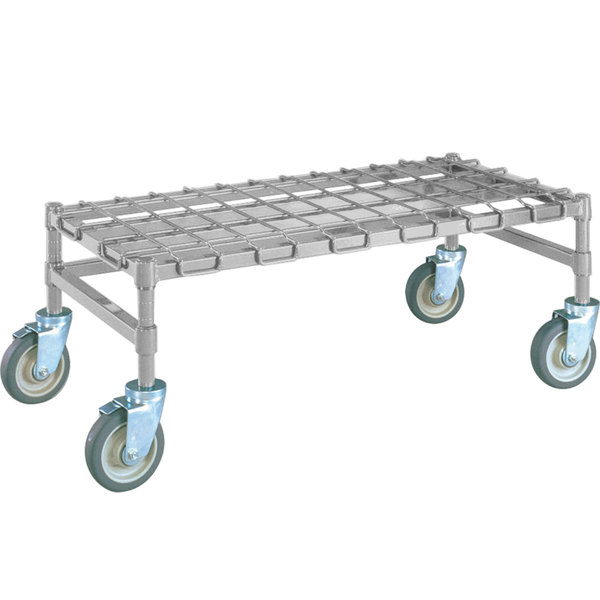 metro mhp55s 48 x 24 x 14 heavy duty mobile stainless steel dunnage rack with wire mat 900 lb capacity