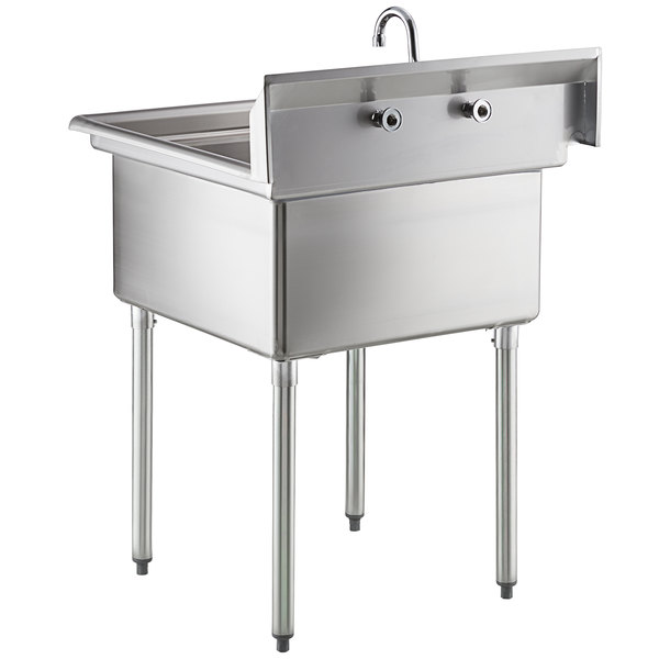 steelton 30 18 gauge stainless steel one compartment commercial sink with faucet 24 x 24 x 12 bowl