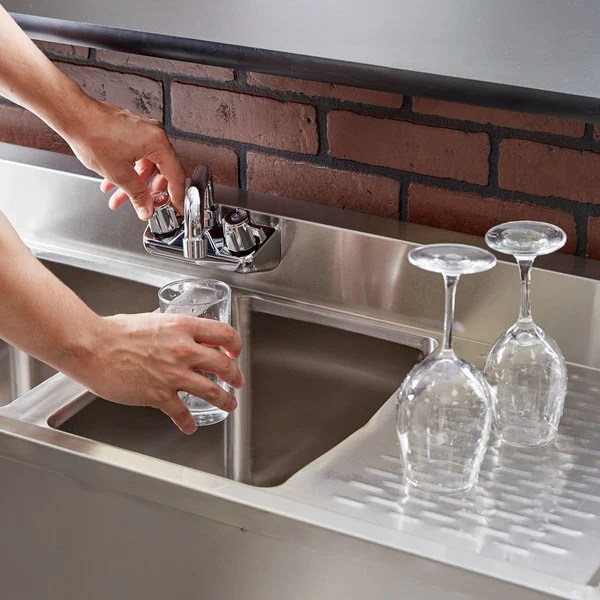 regency 2 bowl underbar sink with faucet and two drainboards 48 x 18 3 4