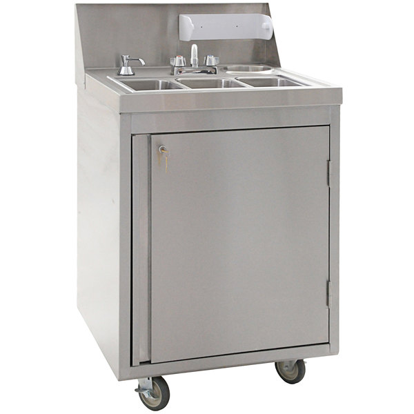 eagle group phs s3 h 26 stainless steel three compartment hot cold water portable sink