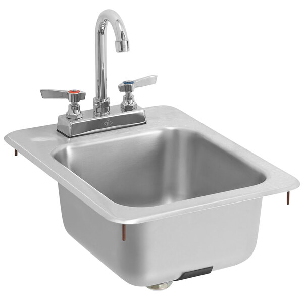 vollrath k1734 c 13 x 17 1 compartment 20 gauge stainless steel drop in bar sink with strainer and gooseneck faucet 6 3 16 deep