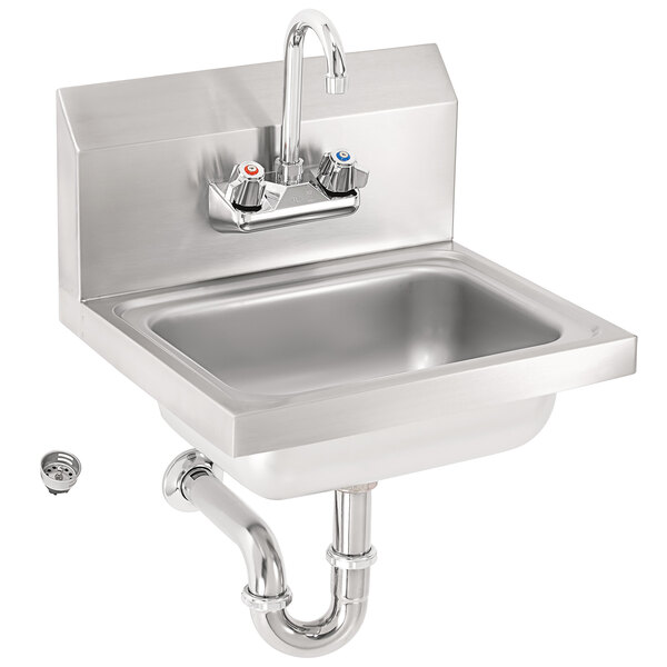 vollrath k1410cs 17 x 15 20 gauge stainless steel wall mounted hand sink with strainer splash guards and gooseneck faucet 5 1 2 deep