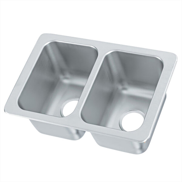 vollrath 102 1 1 17 x 25 2 compartment 20 gauge stainless steel drop in sink 10 deep