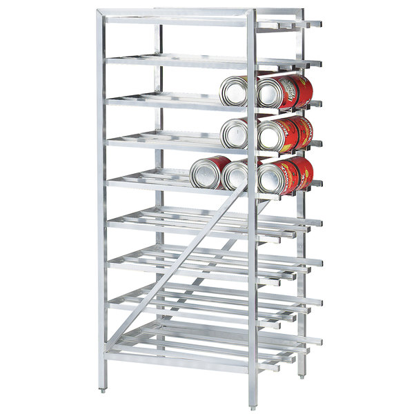 advance tabco cr10 162 spec line 10 aluminum can rack stationary full size