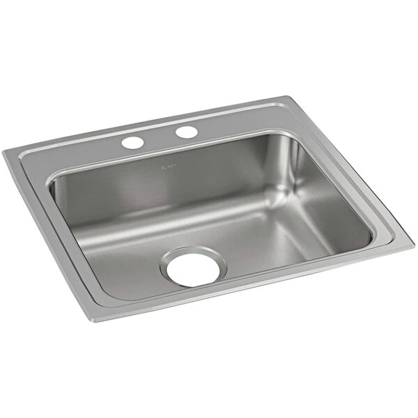 elkay lrad2219652 lusterstone classic single bowl ada drop in sink with two faucet holes 18 x 18 x 6 3 8 bowl