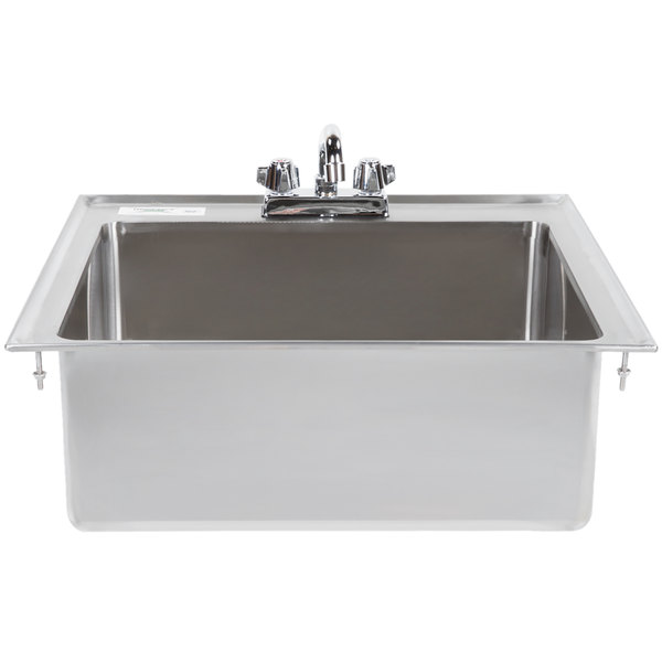 regency 20 x 16 x 8 16 gauge stainless steel one compartment drop in sink with 8 faucet