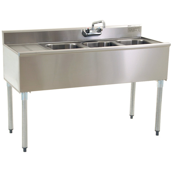 eagle group b4 3 compartment under bar sink with one drainboard and splash mount faucet 48