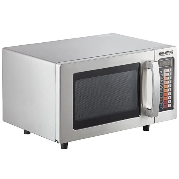 solwave stainless steel commercial microwave with push button controls 120v 1000w