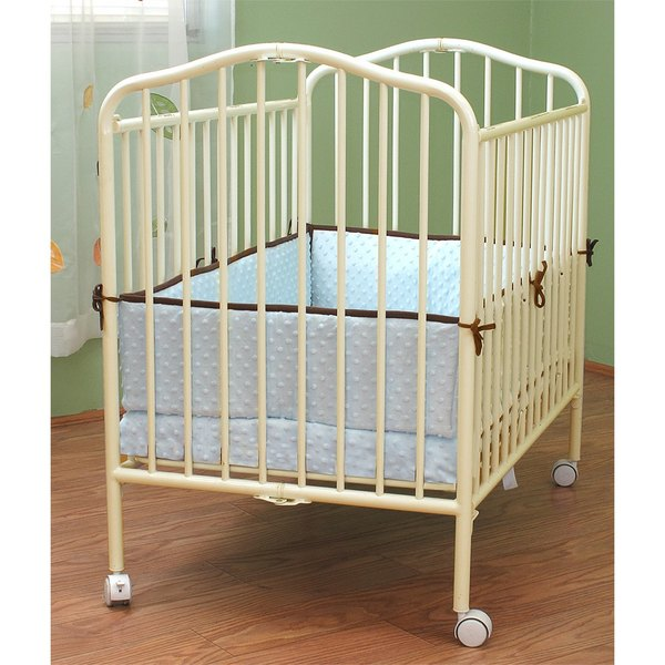 L A Baby Cs 81 24 X 38 Vanilla Colored Metal Folding Crib With 2 Flame Ant Mattress