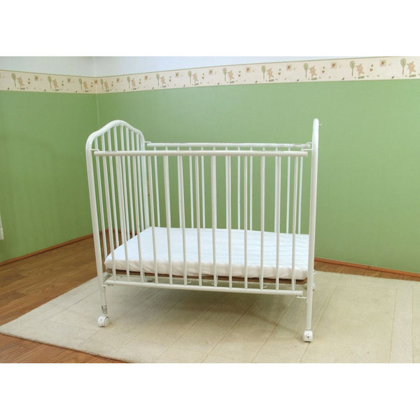 L A Baby Cs 81 24 X 38 White Metal Folding Crib With 2 Flame Ant Mattress