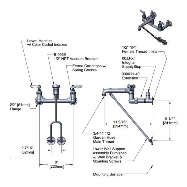 t s b 0656 rgh wall mount rough chrome service sink faucet with 8 centers lower wall support inlet extension integral supply stop eterna