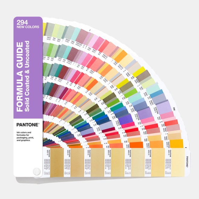 Pantone colour formula guide for solid coated and uncoated colours.