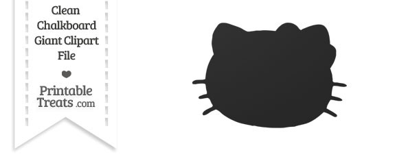 Clean Chalkboard Giant Hello Kitty Head Clipart