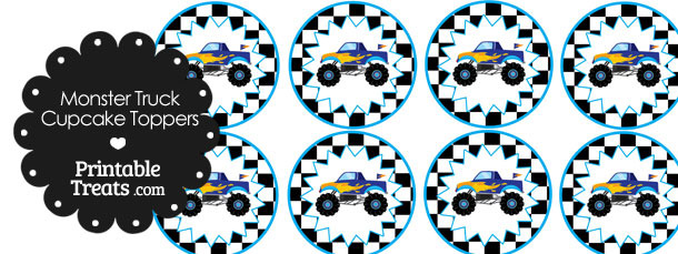 Printable Blue Monster Truck Cupcake Toppers Printable