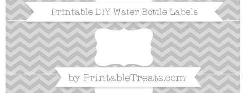 Silver Chevron DIY Water Bottle Labels Printable