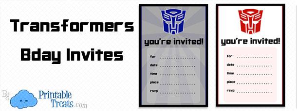 printable transformers birthday party