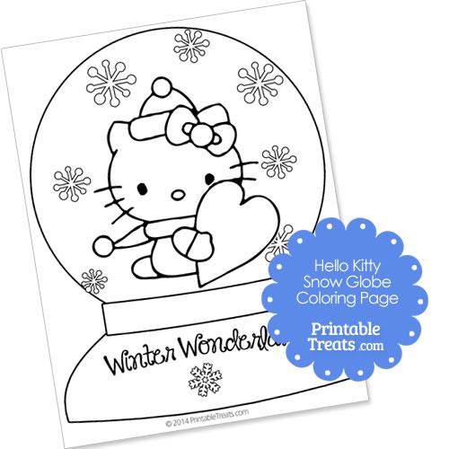 hello kitty snow globe winter coloring page printable treats com