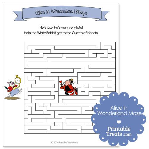 Printable Alice In Wonderland Maze Printable Treats Com