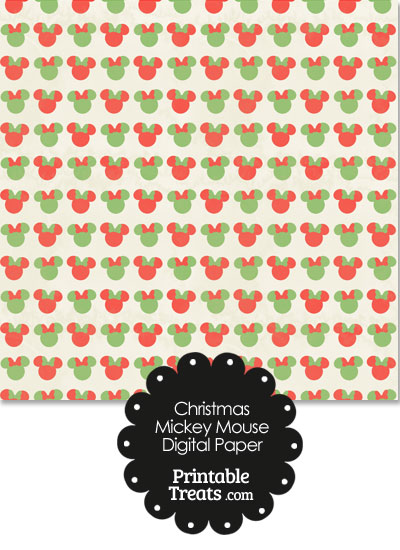 Vintage Minnie Mouse Christmas Digital Scrapbook Paper