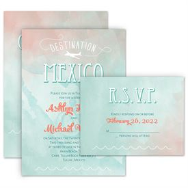 Destination Mexico Invitation With Free Response Postcard