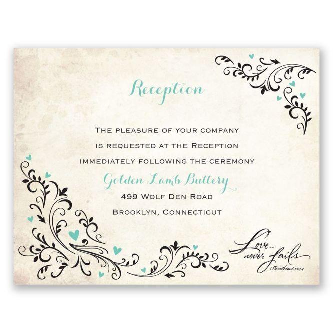 Blossoming Love Reception Card Anns Bridal Bargains Wedding Invite