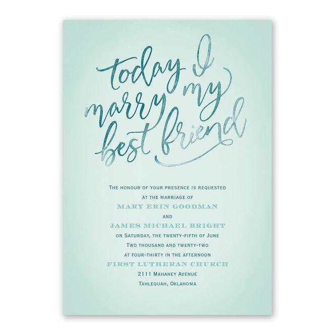 Today I Marry My Friend Wedding Invitation Ann S Bridal Bargains