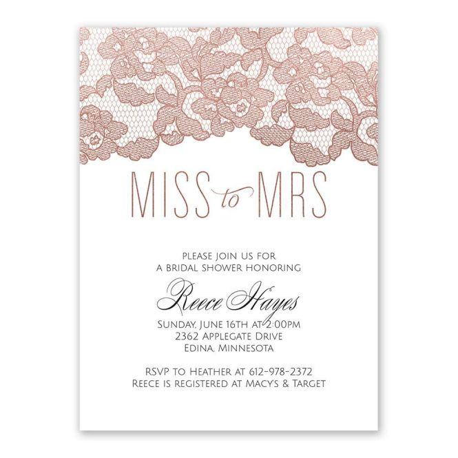 Rose Gold Lace Bridal Shower Invitation Ann S Bargains