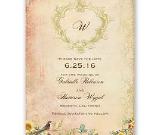 Save The Dates Vintage Birds Save The Date Card