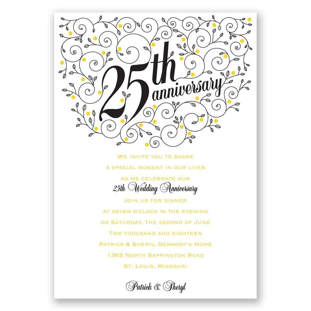 Sample Invitation 25 Wedding Anniversary